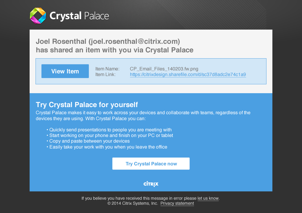 Crystal Palace email notification